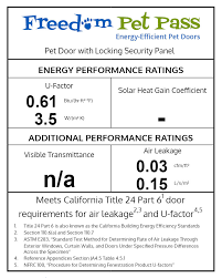 freedom pet pass energy efficiency specifications label