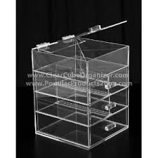 acrylic clear cube makeup organizer 3 drawers plus one w lid display