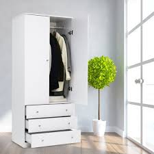 Kinbor 2Door Wardrobe Cabinet Armoire Storage With Three Drawers White White Armoire Drawers54