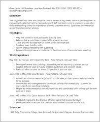 Resume Templates: Lead Teller