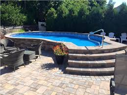 above ground pool steps. Permanent Stone Above Ground Swimming Pool Ideas With Wicker Chairs And Best Walk In Steps