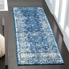 evoke vintage oriental navy blue ivory distressed runner rug