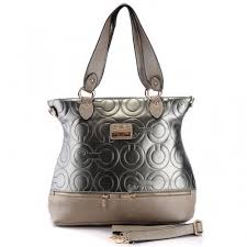 Coach Hamptons In Printed Signature Large Silver Totes 384