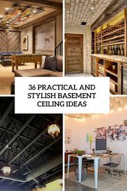 Alternative Basement Ceiling Ideas Suitable With Rustic On