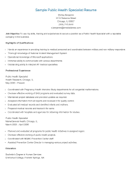 Public Health Resume Sample Sample Public Health Specialist Resume Resame Pinterest 53