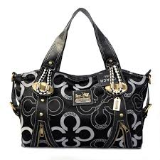Coach Logo Monogram Medium Black Totes EJN