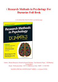 Case Study Research Design And Methods Pdf Free Download B O O K Research Methods In Psychology For Dummies Full Book