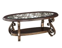 standard furniture ay oval glass top cocktail table in burnished antique bronze