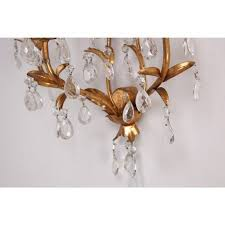 pair of italian mid century gilded crystal lighted wall sconces in excellent condition for in
