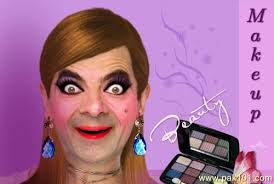 mr bean with funny makeup face picture
