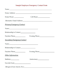 Employee Emergency Contact Form Template Employee Details Form Template Emergency Contact Forms