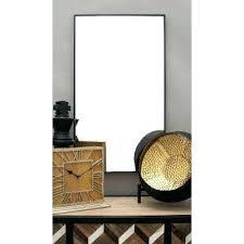 modern art deco black strip wall mirror