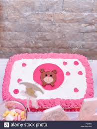 Baby Girl First Birthday Cake With Teddy Bearimage Of A Stock Photo