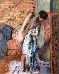 after the bath also known as woman drying herself edgar degas circa