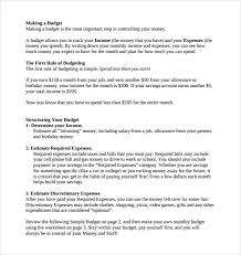 Simple Budget Plan Sample Budget Plans 14 Examples Format