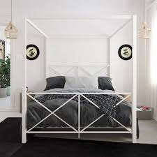 DHP Rosedale Metal Canopy Bed, Full Size, White | Brielle | Metal ...