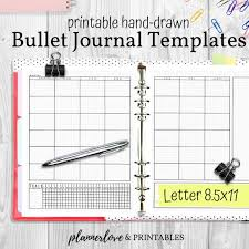 Journal Templates Printable Bullet Journal Templates Hand Drawn Planner Inserts Letter 8 5x11 Pdf Instant Download Planner Refills Printable Bujo Pages