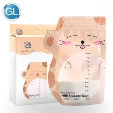 <b>GL</b> Cute 30pcs <b>200ML</b> Freezer Bags Breast <b>Milk</b> Storage Bags Baby ...