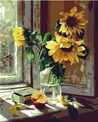 com diy oil painting paint by number kits warm sunflower 16x20 inch toys