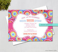 Invitation Information Template Tie Dye Editable Invitation Template Instant Download 18