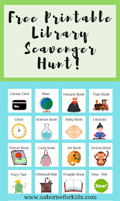 usborne books learn to read library scavenger hunt for kids free printable library game create a love of reading