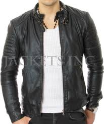 mens club black real leather jacket vintage slim fit retro genuine