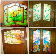 flower stained glass doors