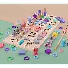 Đồ Chơi Gỗ Bộ Đồ Chơi Câu Cá, Ghép Số, Hình Khối Và Thả Vòng Cho Bé Mykids  - Đồ chơi thông minh - Xếp khối Thương hiệu OEM