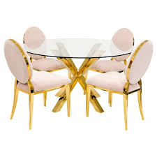 crossly round dining table with gold silvia dining chairs
