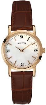 women s bulova diamond brown leather pearl watch 97p105 loading zoom