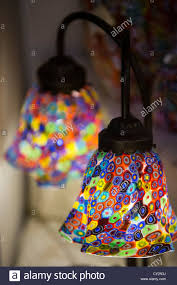 twin table lamp with murano glass shades made in the millefiori