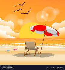 beach umbrella and chair. Modren Beach Summer Beach Umbrella Chair Sunset Backgroun Vector Image To Beach Umbrella And Chair