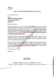 Modelo De Carta Notarial De Requerimiento De Pago