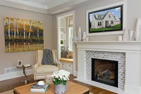 glass tile fireplace designs. transitional family room idea in minneapolis with gray walls glass tile fireplace designs r