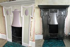 from the same customer we took this beautiful example of an art deco fireplace we sandblasted the whole fire and got to work polishing the surface to a