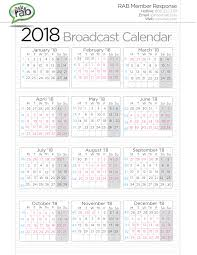 RAB Broadcast Calendars