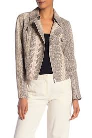 image of lafayette 148 new york bevin snake embossed leather moto jacket
