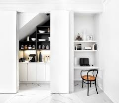 alcove desk ideas kitchen contemporary with pivot doors stainless legs pivot doors alcove contemporary home office