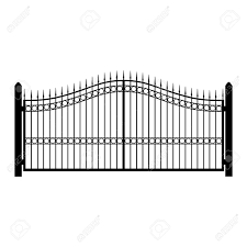 metal fence gate. Vector - Illustration Wrought-iron Fence. Old Metal Fence Or Gate. Gate Silhouette. Modern Forged Gates
