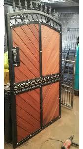iron wooden double gates