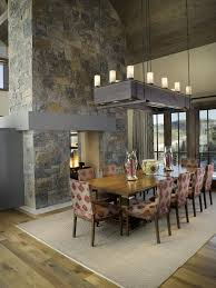 denver stone electric fireplace dining room contemporary with sloped furniture fabulous chandeliers for high ceilings