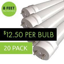 8ft Black Light Bulb Led T8 Bulbs 8ft 96in 12 50 Per Bulb 20 Pack Single End 4 800 Lumens 40 Watts 5000k Daylight