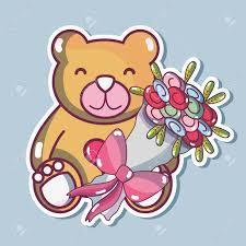 Teddy Bear Design Teddy Bear Design With Bouquet Flowers