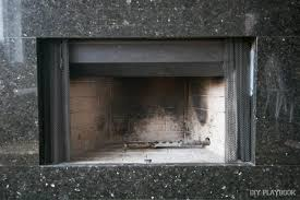 the dirty fireplace before