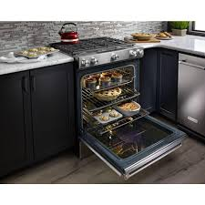 kitchenaid 6 5 cu ft slide in gas range with self cleaning convection oven in stainless steel ksgb900ess the home depot