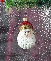 Weihnachtsmann Kopf Klein Ca 4cm Baumschmuck Aus Glas Mundgeblasen Und Handbemalt