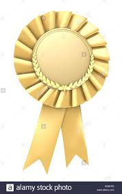 Gold Ribbon Award Blank With Copy Space Isolated Stock