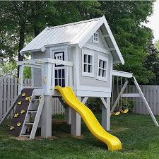 backyard playhouse with slide lovely 31 free diy playhouse plans to build for your kids secret