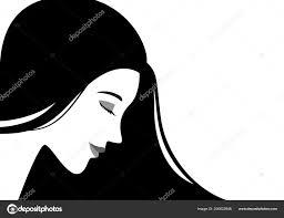 Simple Flat Vector Illustration Beautiful Woman Face Black Hair