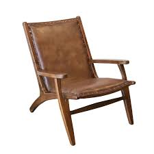 Allora Mid-Century Modern <b>Genuine Leather Lounge Chair</b> in Brown ...